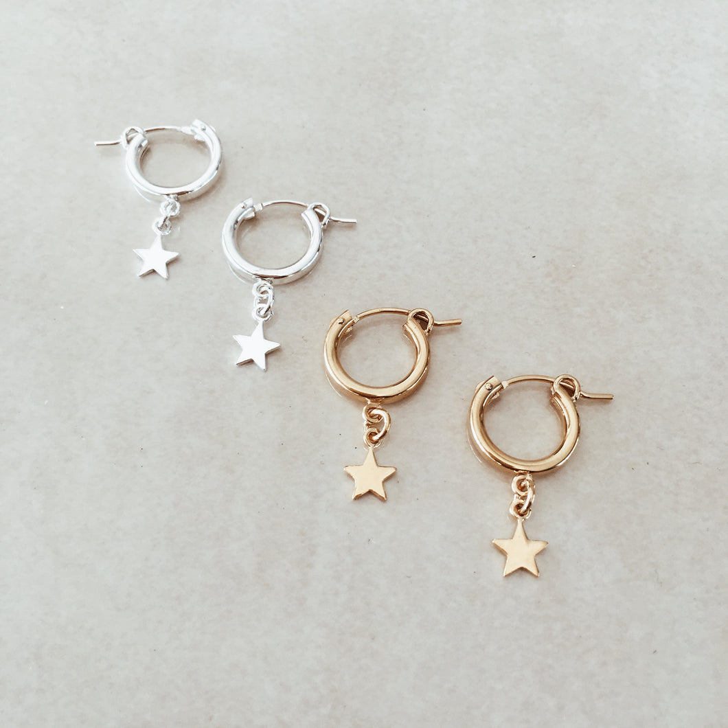 The Mini Star Hoops - Silver