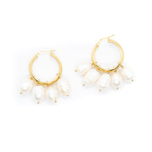 The Multi Pearl Hoops Gold