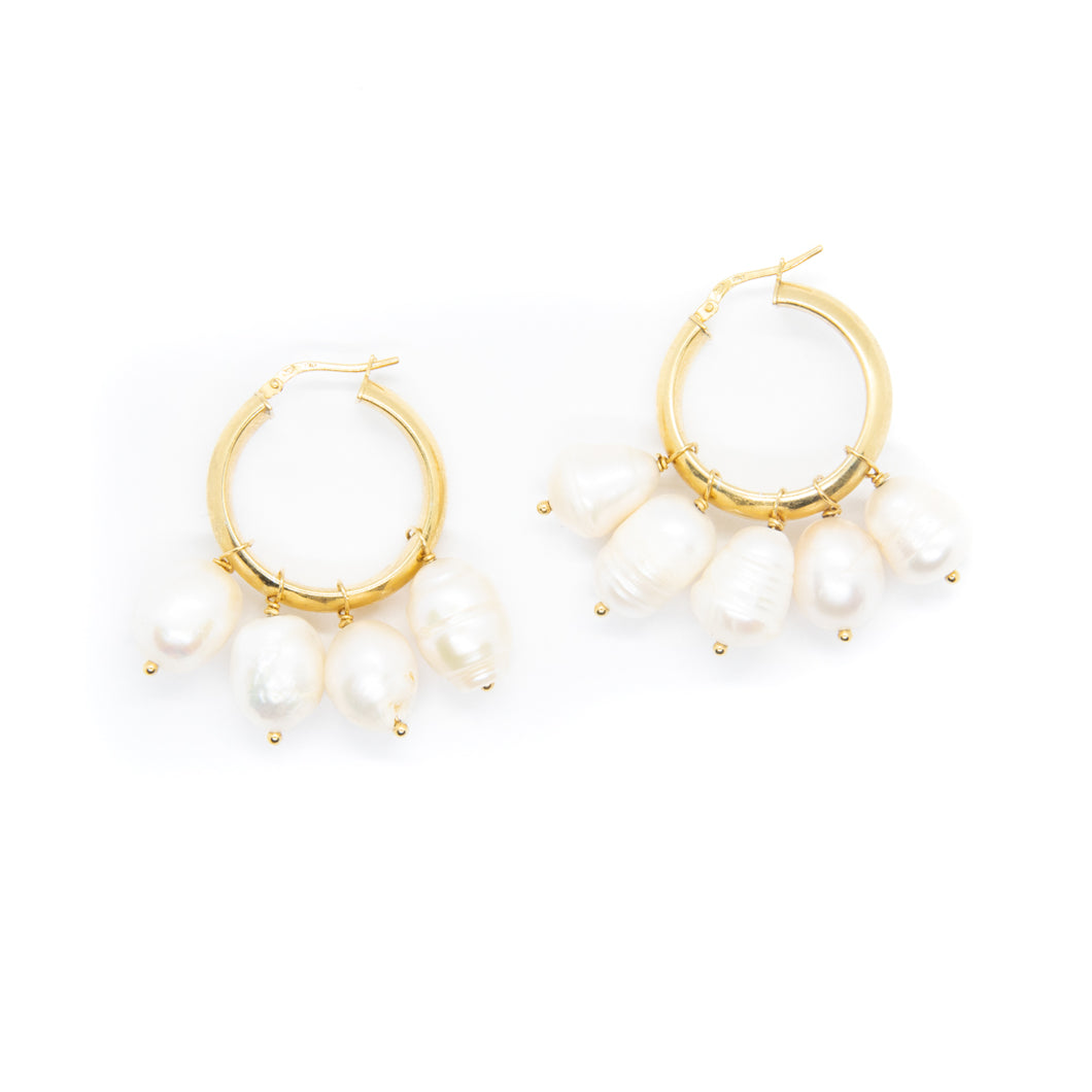 PREORDER The Multi Pearl Hoops Gold