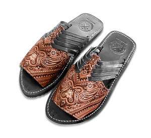 Brown Bandana Slide Huarache Sandals