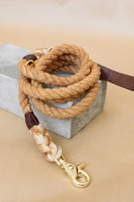 Rope Leash | Whiskey, Leather Handle