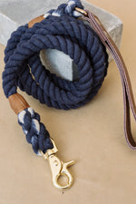 Rope Leash | Blue, Leather Handle