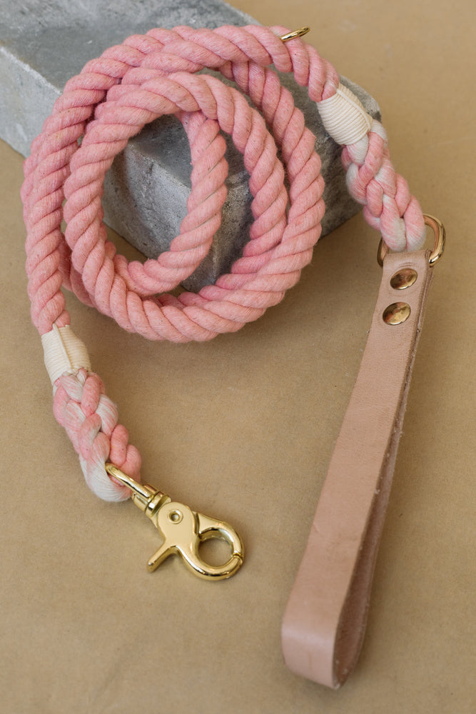Rope Leash | Light Pink, Leather Handle