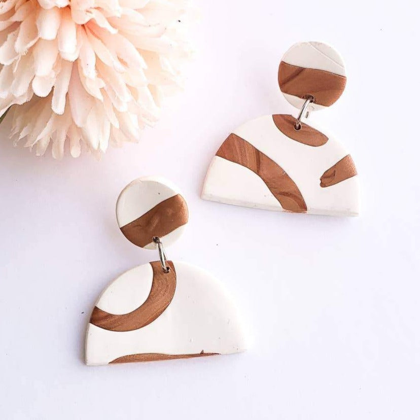 Earrings | Cora Fans White + Copper Abstract