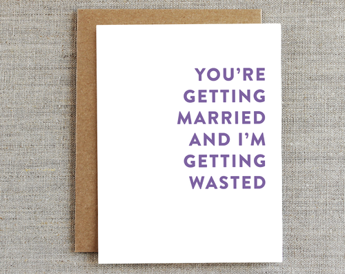 Card, Wedding | Married + Wasted, Rhubarb Paper Co.  - Common People Shop