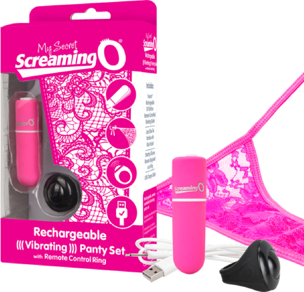Rechargeable Vibrating Panty Set Pink