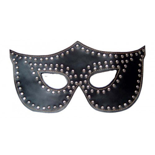 Rapture Black Leather Mask with Silver Rivets