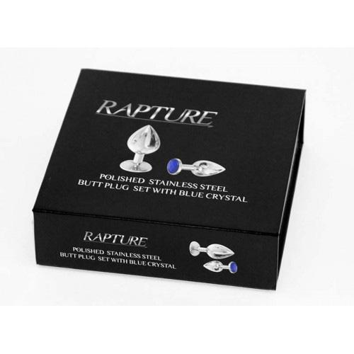 Rapture Butt Plug: Polished Stainless Steel Butt Plug (Set of 2 with Blue Crystal)