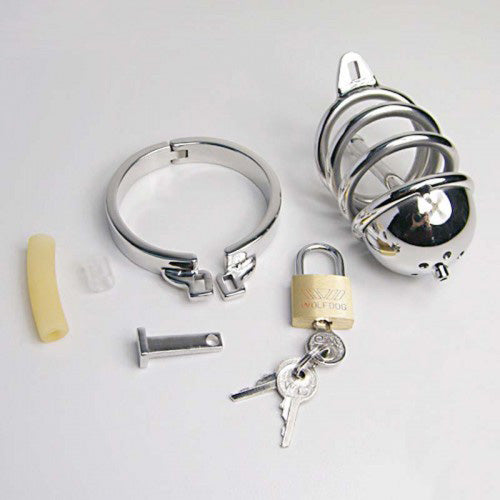 Rapture Stainless Steel Ring-Cap Cock Cage with Urethral Probe