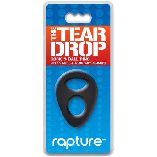 Rapture The Tear Drop Premium Silicone Cock & Ball Ring Black