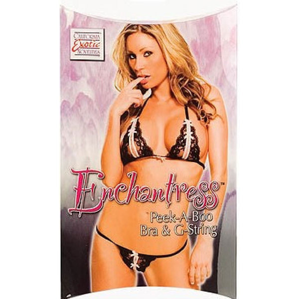 Enchanteress Peek-A-Boo Bra & G-String (Black)