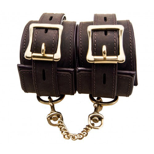 bondage bound wrist cuffs brown