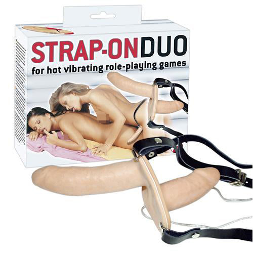 classic vibrators you2toys strap on duo vibro flesh