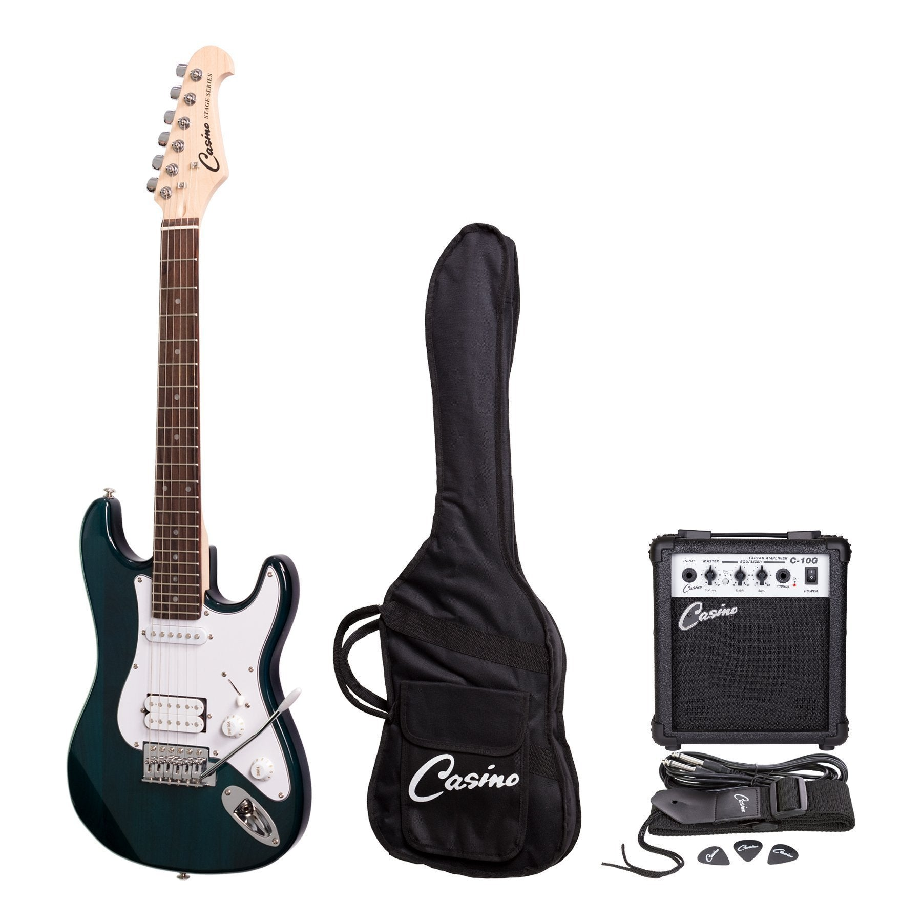 Casino ST-Style 3/4 Size Electric Guitar and 10 Watt Amplifier Pack (Transparent Blue)
