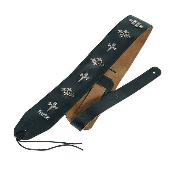 Fretz Leather-Look Adjustable Studded Guitar Strap 6.5cm