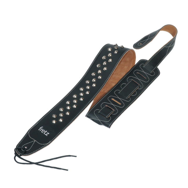 Fretz Leather-Look Adjustable Studded Guitar Strap (Goth)