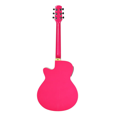 Martinez '22 Series' Acoustic-Electric Small Body Cutaway Guitar (Hot Pink)