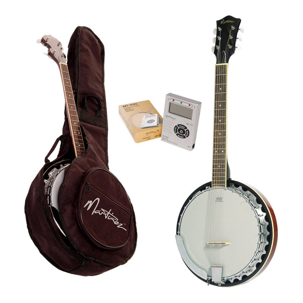 Martinez 6-String Mahogany Banjo Pack (Natural Gloss)