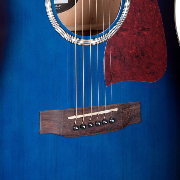 Martinez Acoustic-Electric Dreadnought Cutaway Guitar (Blue)