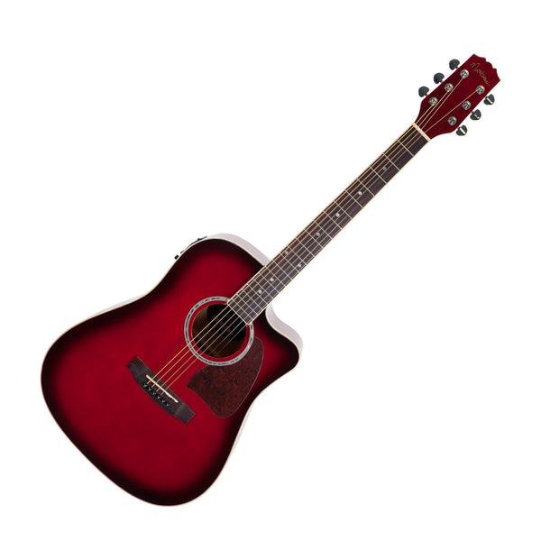 Martinez Acoustic-Electric Dreadnought Cutaway Guitar (Wine Redburst)