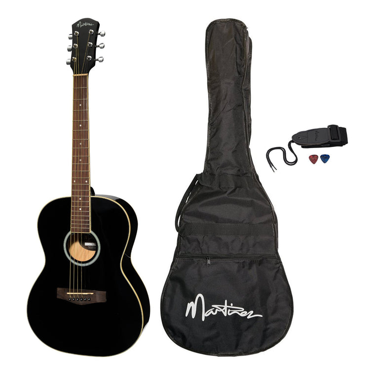 Martinez Acoustic Folk Size Guitar Pack with Built-In Tuner (Black)