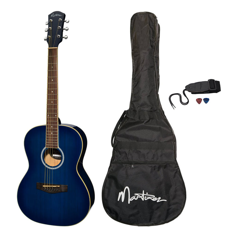 Martinez Acoustic Folk Size Guitar Pack with Built-In Tuner (Blueburst)