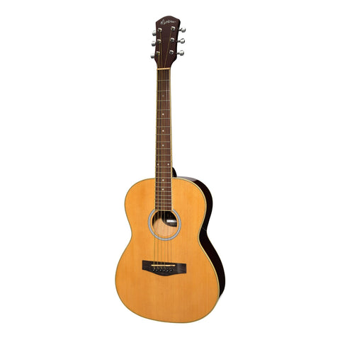 Martinez Acoustic Folk Size Guitar Pack with Built-In Tuner (Natural Gloss)