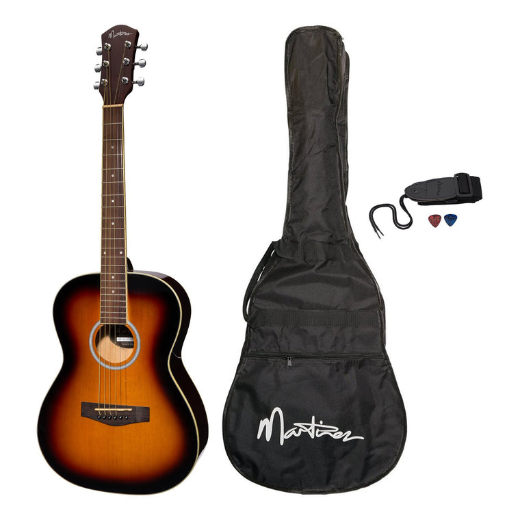 Martinez Acoustic Folk Size Guitar Pack with Built-In Tuner (Tobacco Sunburst)