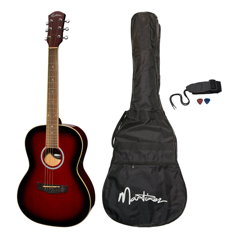 Martinez Acoustic Folk Size Guitar Pack with Built-In Tuner (Wine Red)