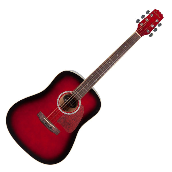 Martinez Beginner Acoustic Dreadnought Guitar (Wine Red)