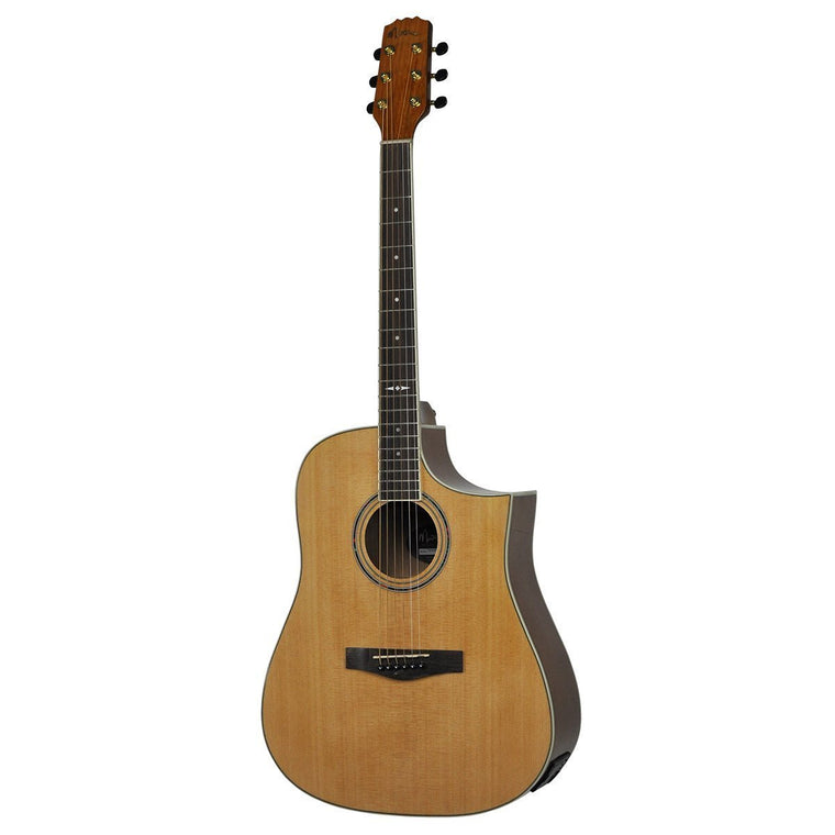 Martinez 'Busker' Acoustic-Electric Dreadnought Cutaway Guitar with Drum Machine (Natural Gloss)