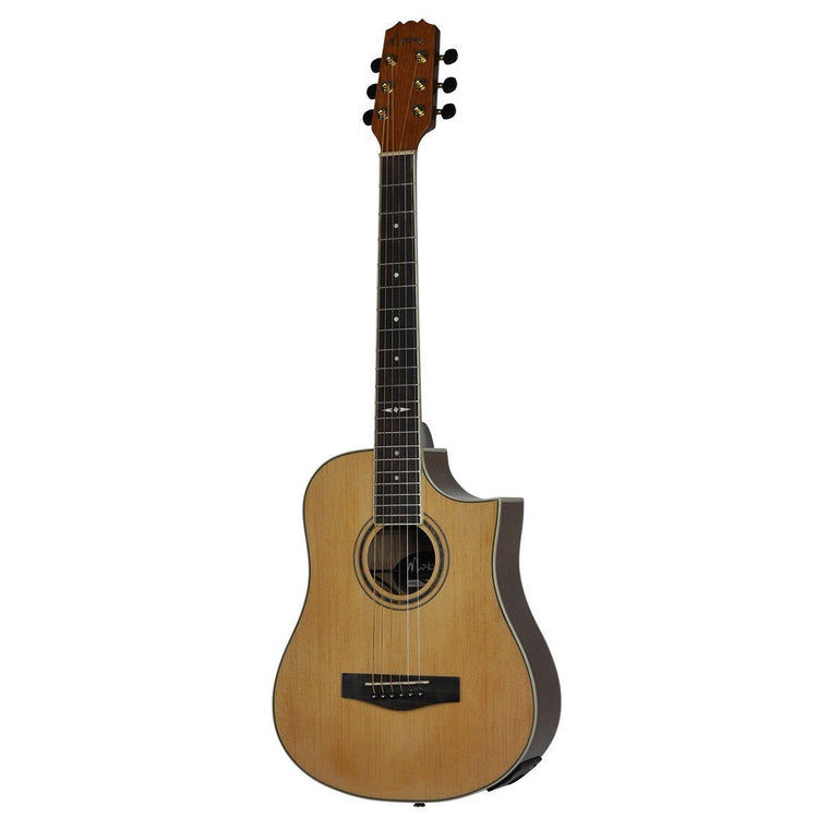 Martinez 'Busker' Acoustic-Electric Small Body Cutaway Guitar with Drum Machine (Natural Gloss)