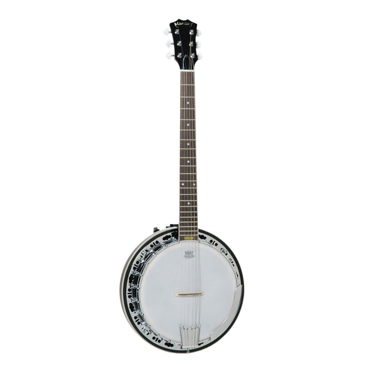 Martinez 'Deluxe' 6-String Left Handed Mahogany Banjo (Natural Gloss)