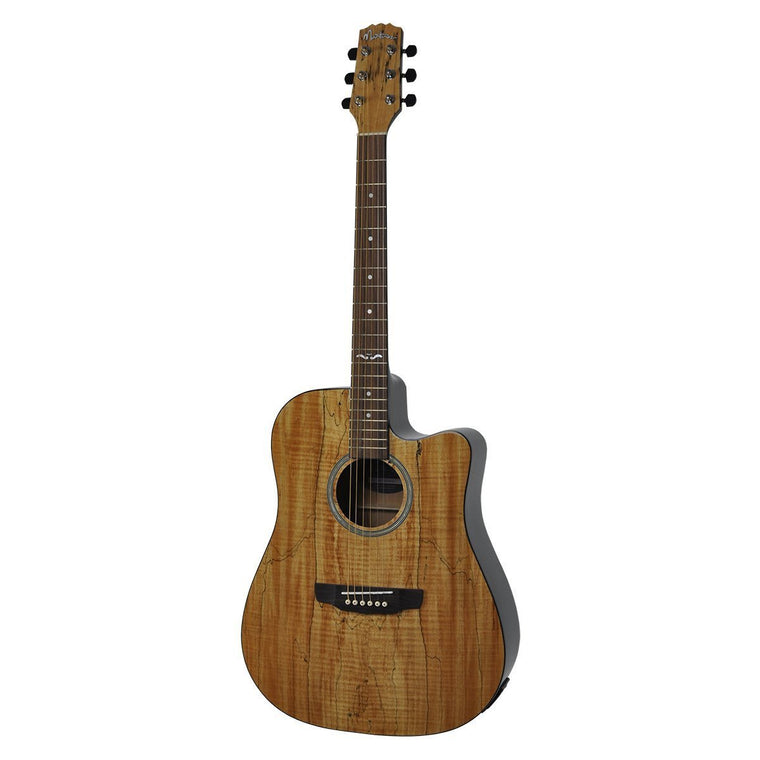 Martinez 'Mosaic Series' Spalted Maple Acoustic-Electric Dreadnought Cutaway Guitar (Mosaic Gloss)