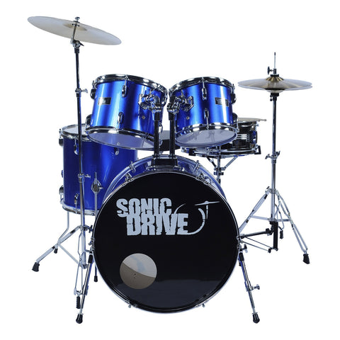 "Sonic Drive 5-Piece Fusion Drum Kit with 22"" Bass Drum (Metallic Blue)"