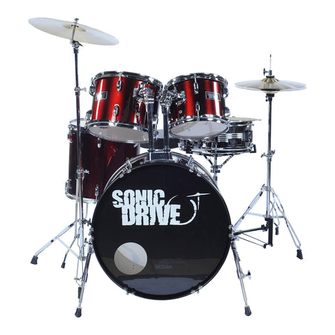 "Sonic Drive 5-Piece Fusion Drum Kit with 22"" Bass Drum (Metallic Wine Red)"