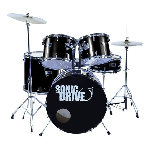 "Sonic Drive 5-Piece Rock Drum Kit with 22"" Bass Drum (Black)"