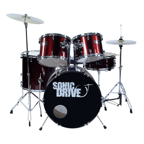 "Sonic Drive 5-Piece Rock Drum Kit with 22"" Bass Drum (Metallic Wine Red)"