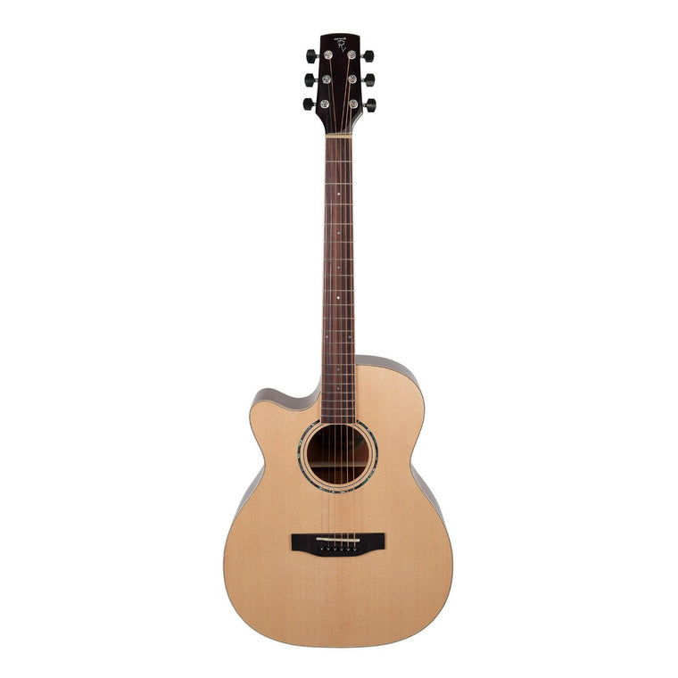 Timberidge '1 Series' Left Handed Spruce Solid Top & Mahogany Solid Back Acoustic-Electric Small Body Cutaway Guitar (Natural Gloss)