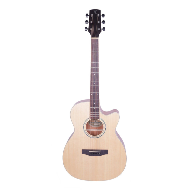 Timberidge '1 Series' Spruce Solid Top & Mahogany Solid Back Acoustic-Electric Small Body Cutaway Guitar (Natural Satin)