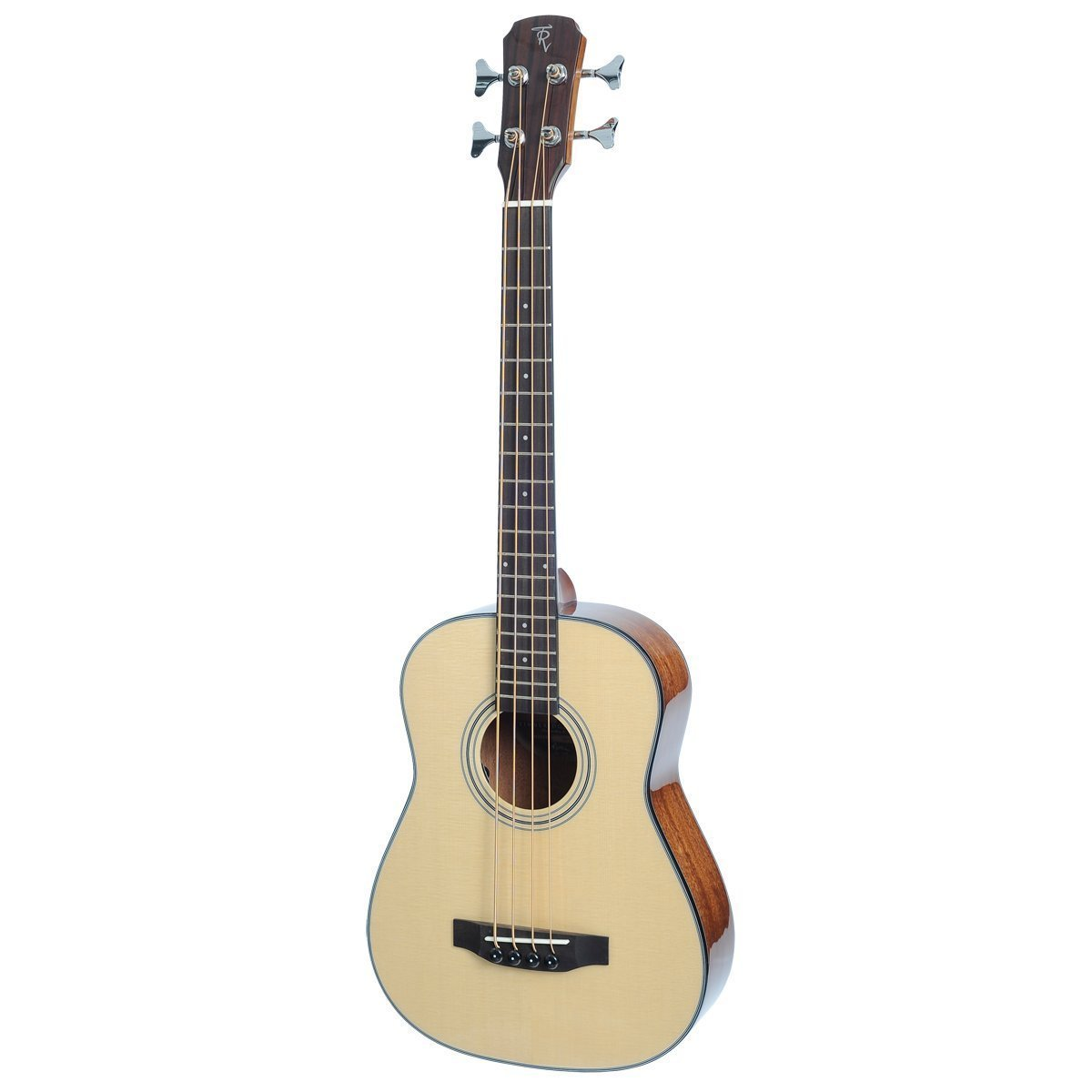 Timberidge 'TR Series' Spruce Solid Top Acoustic-Electric Bass Travel Guitar with Gig Bag (Natural Gloss)