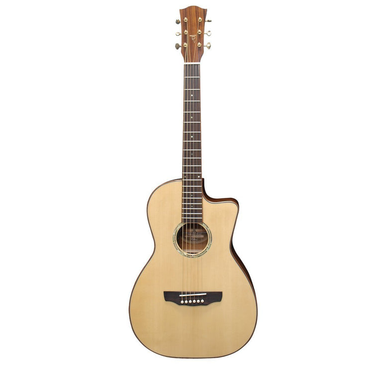 Timberidge 'TR Series' Spruce Solid Top Acoustic-Electric Parlour Cutaway Guitar (Natural Gloss)