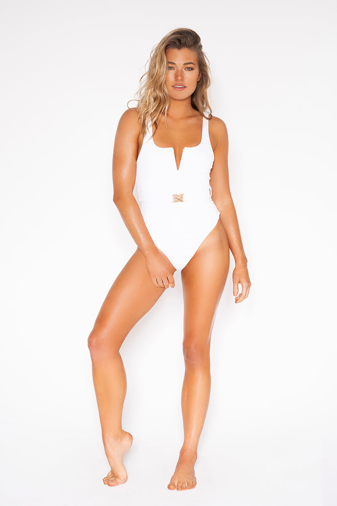 Baywatch One Piece Swimsuit In White | Rompus Australia