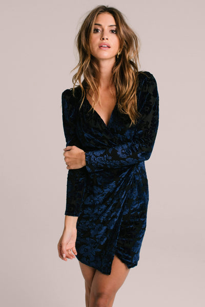 Long Sleeve Wrap Front Dress