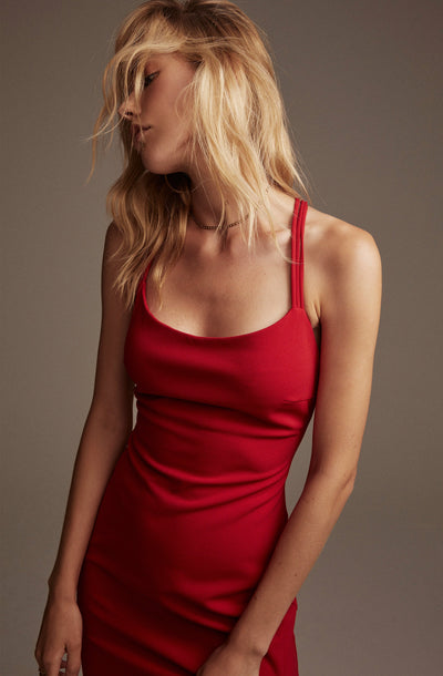 Back Strappy Detail Midi Dress