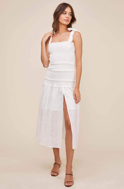 Tessa Smocked Eyelet Midi Dress
