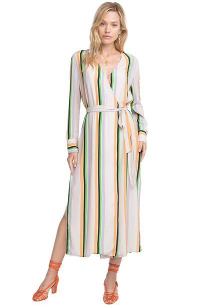Micah Striped Midi Wrap Dress