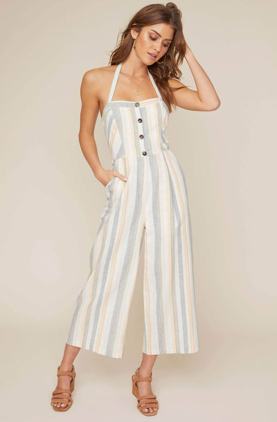 Diane Striped Halter Jumpsuit