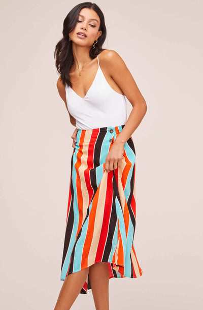 Monica Striped Midi Skirt