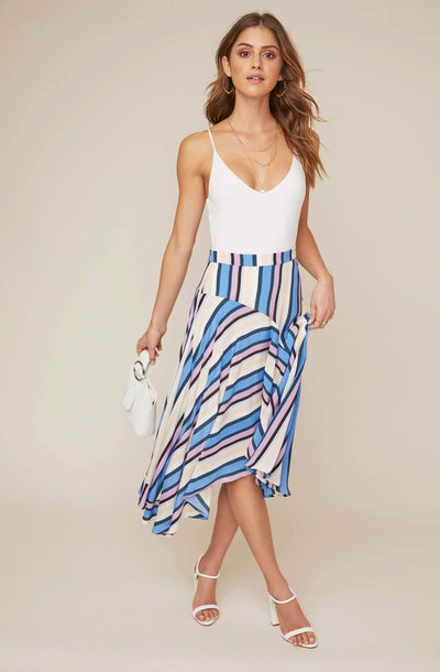 Corrine Striped Asymmetrical Skirt